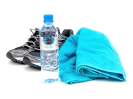 Running shoes water and towel