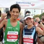 Arata Fujiwara and Kiyoko Shimahara Elite athletes Arata Fujiwara and Kiyoko Shimahara before the start of the Marathon