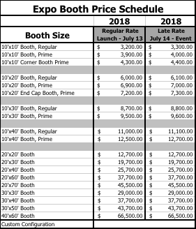 2018 Expo booth pricing