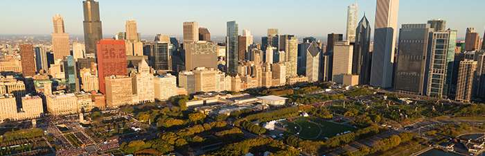 Aerial photo of the 2017 Bank of America Chicago Marathon