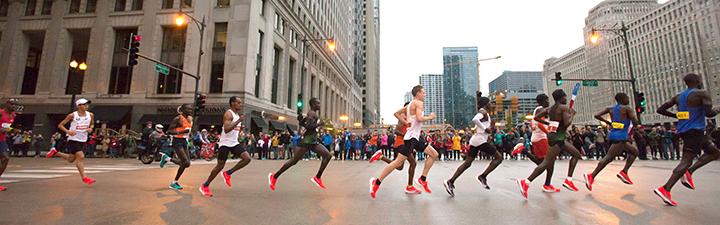 buy popular 97cdb 034a3 Training   nutrition. Elite athletes running through Chicago s Loop  neighborhood