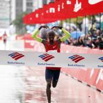 Mo Farah crossing the finish line