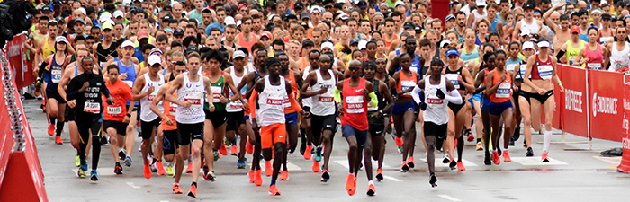 Elite runners at the start line