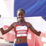 Brigid Kosgei at the finish line