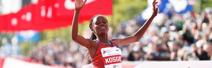 Brigid Kosgei winning the Chicago Marathon