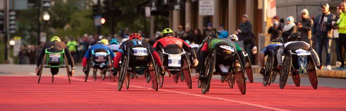 Wheelchair athletes on course